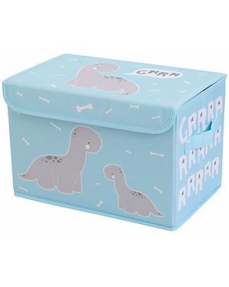 A Little Lovely Company Scatola Pop Up Portagiochi, Brontosauro - Celeste Contenitori Porta Giochi