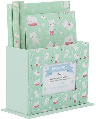 A Little Lovely Company Set da Scrivania, (Quaderno, Notebook, 2 Penne) - Gatto null