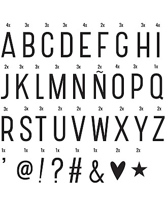 A Little Lovely Company Set Lettere e Simboli per Lightbox, Nero Lampade Comodino