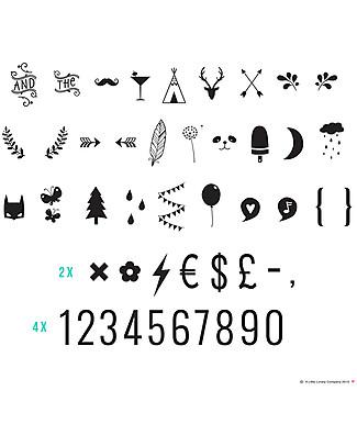 A Little Lovely Company Set Numeri e Simboli per Lightbox, Nero Lampade Comodino