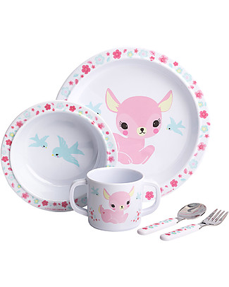 A Little Lovely Company Set Pappa Cerbiatto, Bianco/Rosa - 100% Melamina null