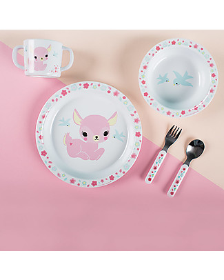 A Little Lovely Company Set Pappa Cerbiatto, Bianco/Rosa - 100% Melamina Set Pappa