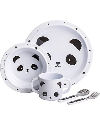 A Little Lovely Company Set Pappa Panda, Bianco/Nero - 100% Melamina null