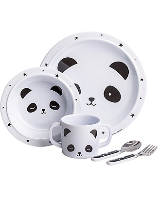 A Little Lovely Company Set Pappa Panda, Bianco/Nero - 100% Melamina Set Pappa