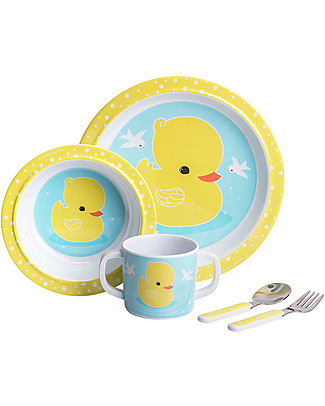 A Little Lovely Company Set Pappa Paperella, Giallo/Celeste - 100% Melamina Set Pappa