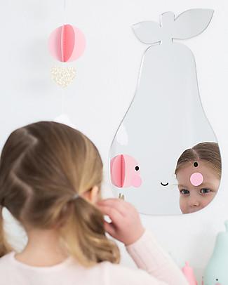 A Little Lovely Company Specchio Infrangibile da Appendere, No Vetro, Pera - Acrilico Decorazioni