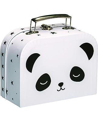 A Little Lovely Company Valigetta Panda, Bianco/Nero - 100% Cartone Riciclato Valigette