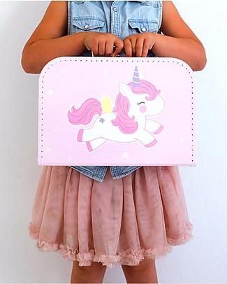 A Little Lovely Company Valigia Baby Unicorno, Rosa - 100% Cartone Riciclato Valigette