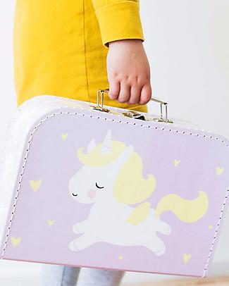 A Little Lovely Company Valigia Unicorno, Lilla - 100% Cartone Riciclato Valigette