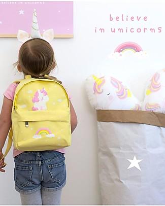 A Little Lovely Company Zainetto Piccolo, Unicorno, 20.5 x 28 x 12.5 cm - Giallo Zaini
