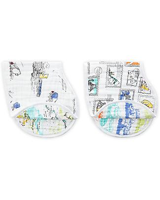Aden & Anais Set 2 Bavaglini Coprispalla 2in1 - Winnie the Pooh - 100% Mussola di Cotone Bavagli Coprispalla