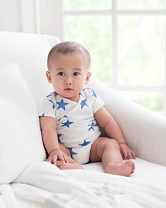 Aden & Anais Body Kimono Manica Corta - Stelle Blu Ultramarine - Mussola di Cotone! Body Manica Corta