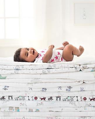 Aden & Anais Body Kimono Manica Corta - Stelle Rosa Shocking - Medium Star - Mussola di Cotone! Body Manica Corta