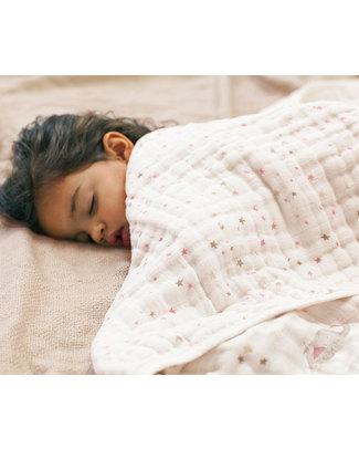 Aden & Anais Coperta Dream™ Blanket - Lovely - Stelline e Elefanti - 100% Mussola di Cotone (120x 120cm) Coperte