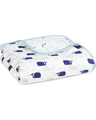 Aden & Anais Coperta Dream Blanket – High Seas - 100% Mussola di Cotone (120x120 cm) Coperte