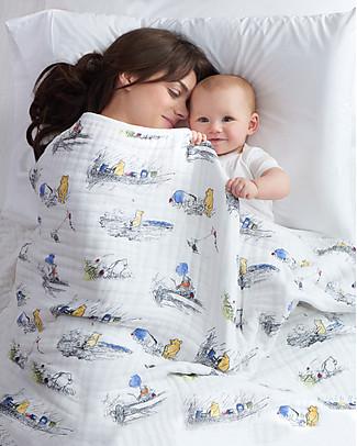 Aden & Anais Coperta Dream Blanket, 120 x 120 cm – Winnie Pooh - 100% Mussola di Cotone Coperte