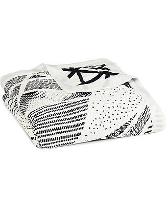 Aden & Anais Coperta Silky Soft Dream Blanket – Midnight - 100% Mussola di Bambù (120x120 cm) Coperte