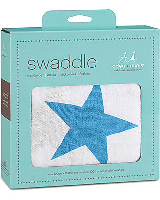 Aden & Anais Copertina Swaddle Milleusi - Stelle Blu - 100% Mussola di Cotone Copertine Swaddles