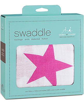 Aden & Anais Copertina Swaddle Milleusi - Stelle Rosa - 100% Mussola di Cotone Copertine Swaddles