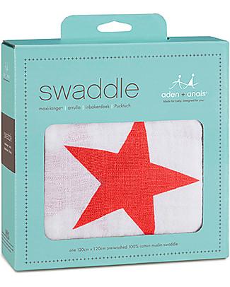 Aden & Anais Copertina Swaddle Milleusi - Stelle Rosse - 100% Mussola di Cotone Copertine Swaddles
