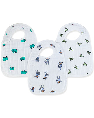 Aden & Anais Jungle Jam Snap Bibs - 3 Pack 100% cotton muslin (super soft and abosrobant) Snap Bibs