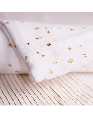 Aden & Anais Set 3 Copertine Swaddles Milleusi 120x120 cm - Oro Metallic Collection - 100% Cotone Swaddles