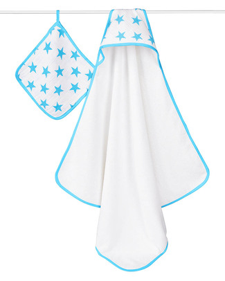 Aden & Anais Set Blu Fluo Asciugamano con Cappuccio + Manopola - NUOVO MODELLO!  Accappatoi e Asciugamani