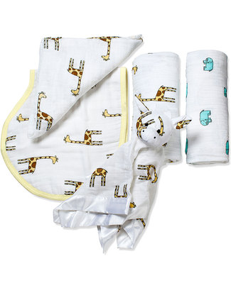 Aden & Anais Set Regalo di Nascita - Jungle Jam (4 regali in uno!) Copertine Swaddles