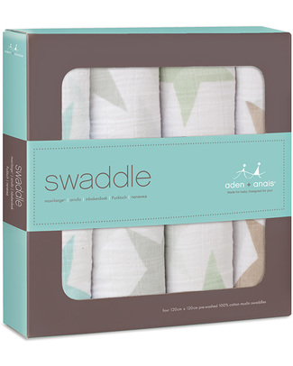 Aden & Anais Super Star Scout Multi-use Swaddles - 4 pack - 100% cotton muslin Swaddles