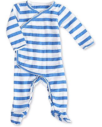 Aden & Anais Tutina Kimono Maniche Lunghe Righe Blu Mare - Mussola di Cotone! Tutine Lunghe Con Piedi