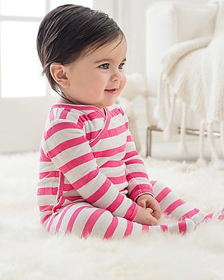 Aden & Anais Tutina Kimono Maniche Lunghe Righe Rosa Vivace - Mussola di Cotone! Tutine Lunghe Con Piedi