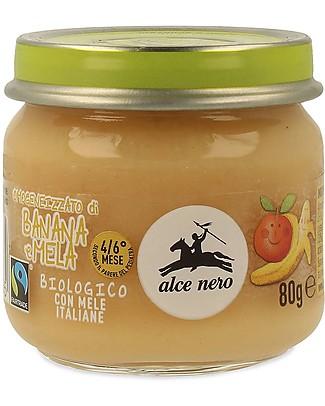Alce Nero Omogeneizzato di Banana e Mela Biologico - 100% frutta italiana Omogeneizzati