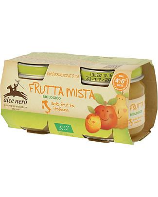 Alce Nero Omogeneizzato di Frutta Mista Biologico, 2 Vasetti – 100% frutta italiana Omogeneizzati