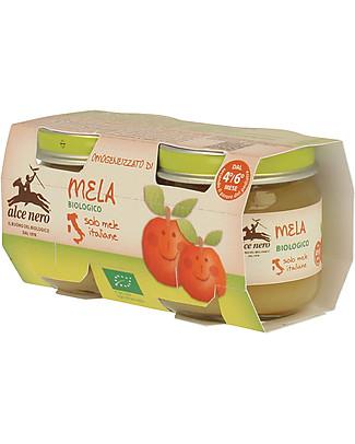 Alce Nero Omogeneizzato di Mela Biologico, 2 Vasetti – 100% frutta italiana Omogeneizzati