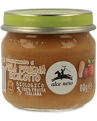 Alce Nero Omogeneizzato di Mela, Prugna e Biscotto Biologico – 100% frutta italiana null
