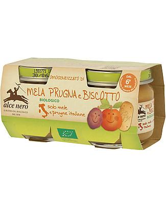 Alce Nero Omogeneizzato di Mela, Prugna e Biscotto Biologico, 2 Vasetti – 100% frutta italiana Omogeneizzati