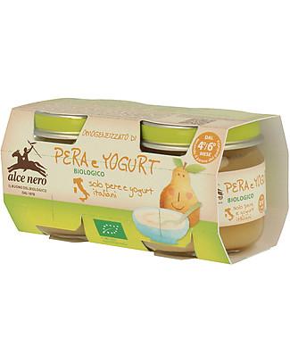 Alce Nero Omogeneizzato di Pera e Yogurt Biologico, 2 Vasetti – 100% frutta italiana Omogeneizzati