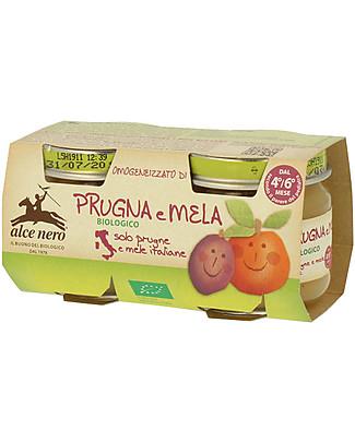 Alce Nero Omogeneizzato di Prugna e Mela Biologico, 2 Vasetti – 100% frutta italiana Omogeneizzati