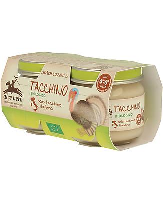 Alce Nero Omogeneizzato di Tacchino Biologico, 2 Vasetti – 100% carne italiana Omogeneizzati