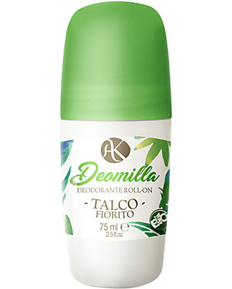 Alkemilla Bio Deodorante Roll-on Talco Fiorito, Deomilla - 75 ml Deodoranti
