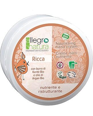 Allegro Natura Crema Mani Bio Ricca con Argan e Burro di Karité, 50 ml - Nutre e Rigenera Creme e Olii