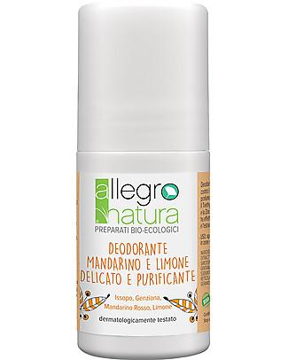Allegro Natura Deodorante Roll-on Bio Limone e Mandarino, 50 ml - Delicato e Purificante  Deodoranti