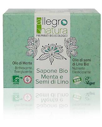 Allegro Natura Saponetta Bio Menta, 100 gr - Rinfresca e Nutre la Pelle Detergenza