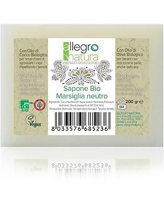 Allegro Natura Saponetta Marsiglia Neutro Bio, 200 gr - Per il Bucato e l'Igiene Personale Detergenza