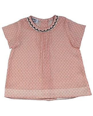 ANG un bebé Abito Camicia con Pizzo Isotta, Fiorellini Rosa - 100% cotone Abiti Da Cerimonia