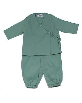 ANG un bebé Completo Casacca Kimono + Pantalone Gabri, Verde - 100% cotone Completi