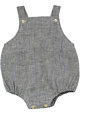 ANG un bebé Pagliaccetto Senza Maniche Timo, Blu - 100% lino Salopette