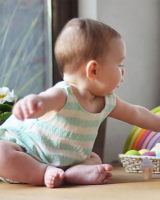 ANG un bebé Pagliaccetto Senza Maniche Vinci, Ondine Verde/Bianco - 100% cotone Salopette