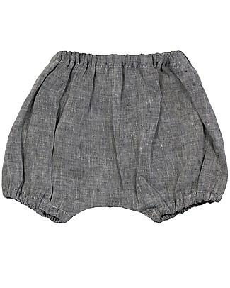 ANG un bebé Pantaloncino Coulotte Giovanni, Blu - 100% Lino Pantaloni Corti