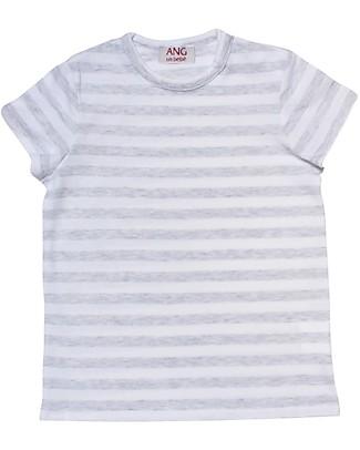 ANG un bebé T-shirt a Righe, Grigio/Bianco - 100% cotone T-Shirt e Canotte
